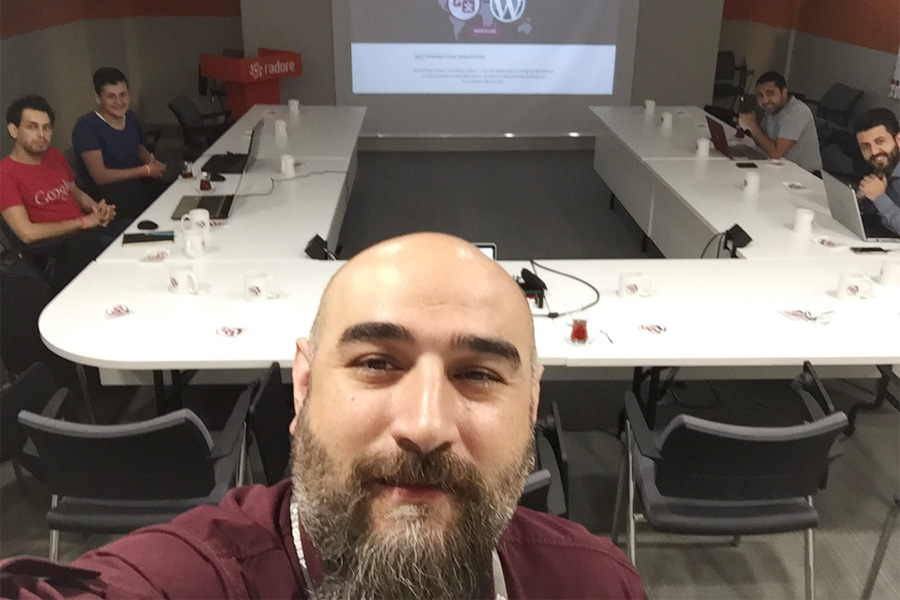 Emre Erkan and the Turkish polyglots team on the first WordPress Global Translation Day