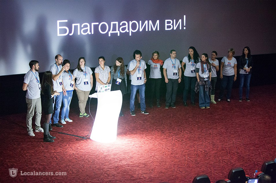 Organizers and volunteers on stage at the end of one more WordCamp Sofia (in 2015)